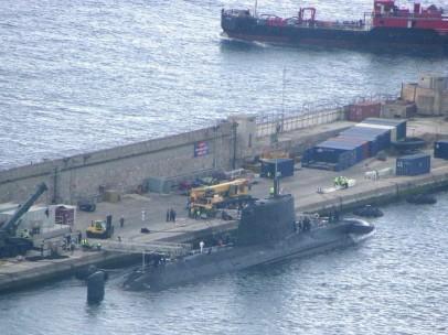 Un submarino nuclear en el puerto de Gibraltar en 2015