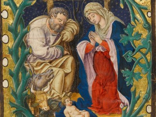 Historiated initial formed of green branches on a gold ground, Adoration of the Child (c. 1500) Tyrol, Italy