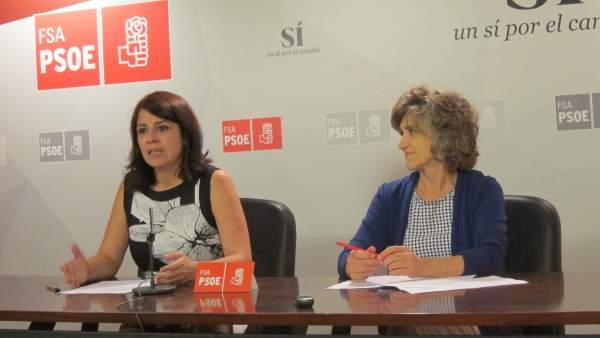 La diputada en el Congreso del PSOE, Adriana Lastra y la senadora Luisa Carcedo.