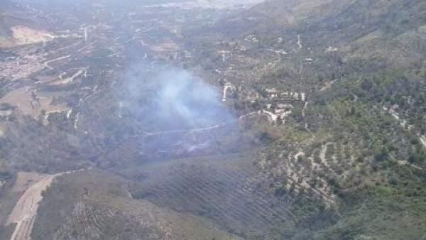 Incendio declarado este domingo en Adsubia