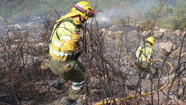 Bomberos forestales en el incendio de Adsubia