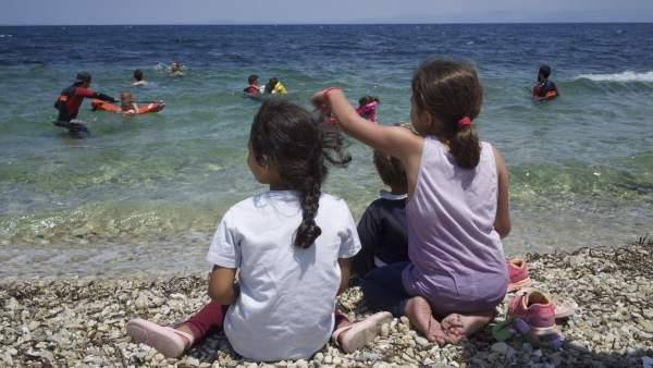 Clases de natación para refugiados