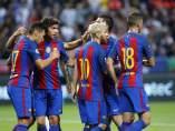El Barcelona celebra uno de los tantos logrados ante el Leicester.