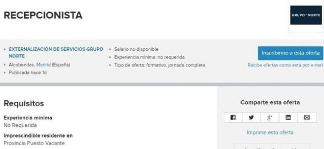 Oferta de empleo publicada por el Grupo Norte en la web InfoJobs