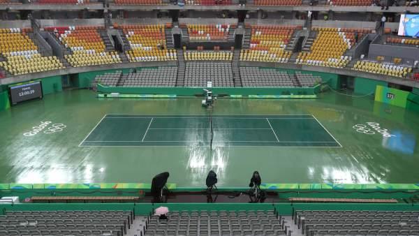 El Centro Olímpico de Tenis, encharcado por la lluvia