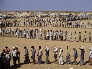 Refugees In the desert. The Sha-alaan One camp,  Jordan, 1990