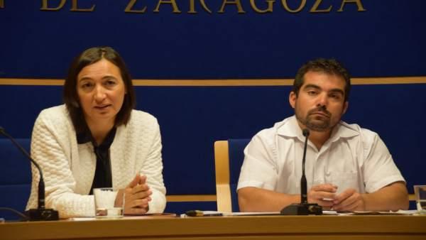 Cristina Palacín y Alejandro Laguna, en rueda de prensa.