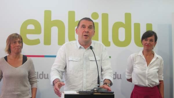Los tres cabezas de lista de EH Bildu a las elecciones vascas