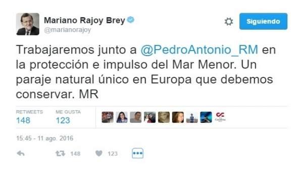Imagen del tuit publicado por Mariano Rajoy