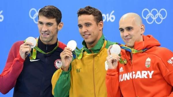 Michael Phelps, Chad Le Clos y László Cseh