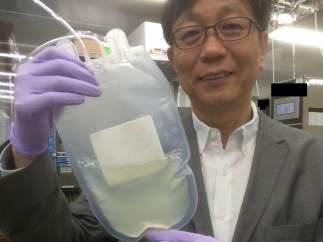 Un investigador nipón muestra plaquetas producidas in vitro a partir de células madre iPS