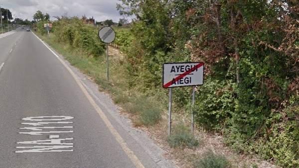 Carretera NA-1110 a la altura de Ayegui
