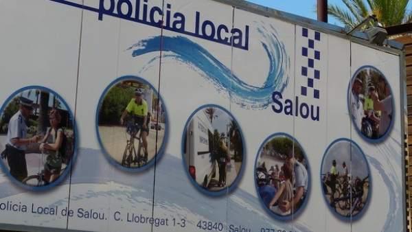 Cartel informativo de la Policía de Salou