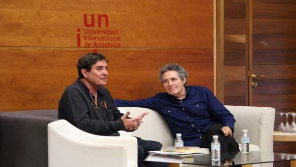 Luis García Montero y Miguel Ríos, en los cursos de la UNIA