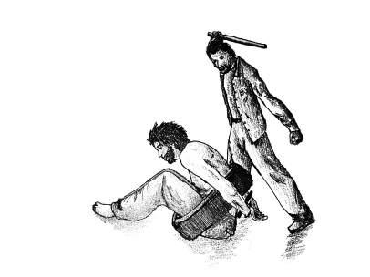 Dibujo sobre las torturas en las prisiones en Siria