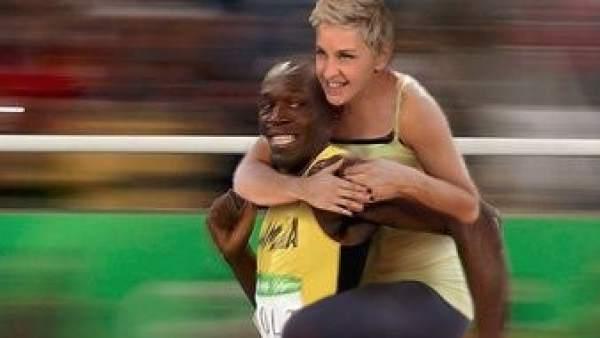 Usain Bolt y Ellen DeGeneres