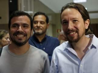 Pablo Iglesias y Alberto Garzón en el Congreso