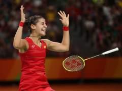 Carolina Marín celebra el punto que le daba la medalla de oro olímpica