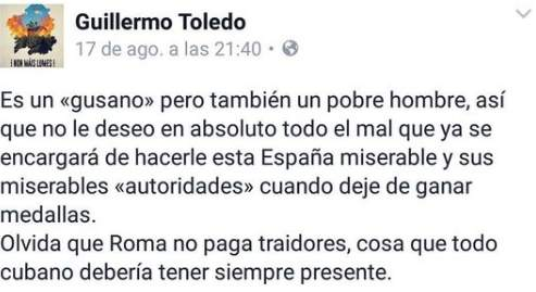 Mensaje de Willy Toledo sobre Orlando Ortega