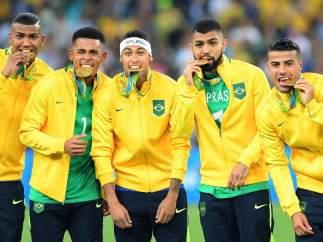 La selección brasileña medalla de oro en Río 2016