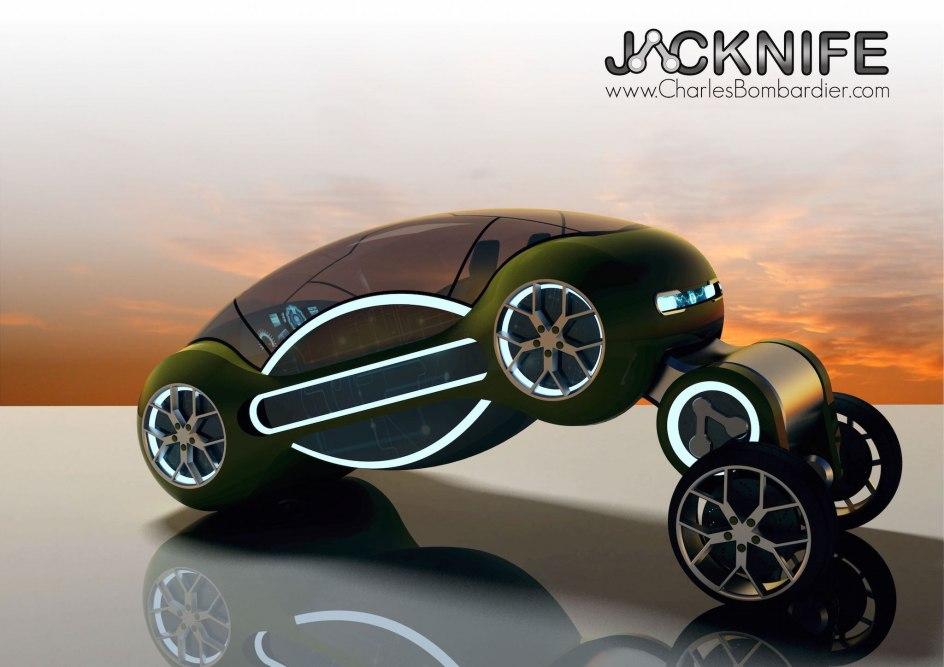 Prototipo de movilidad: JACKNIFE. Es un coche de aspecto futurista que puede cambiar su forma en función de dónde y cómo se esté utilizando. Cuando está estacionado, sus ruedas pueden meterse hacia adentro. Cuando se conduce a gran velocidad, el eje de las ruedas se acerca más al suelo para que el vehículo tenga una mayor estabilidad.
