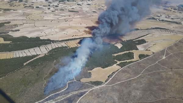 Fotografía del incendio en el campo de San Gregorio