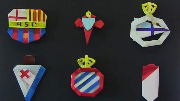 Escudos de clubes de fútbol en papiroflexia