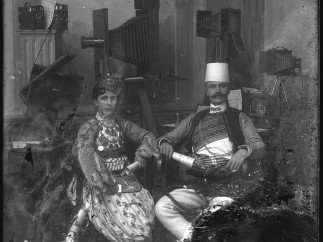 Kel Marubi with his wife in the studio, no date, silver gelatine dry process on glass