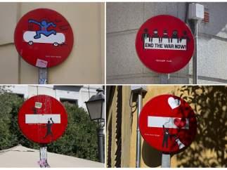 Arte 'Yipi yipi' en las señales de tráfico en Madrid