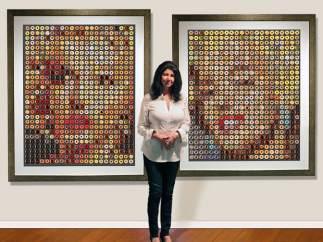 La artista que crea retratos con donuts