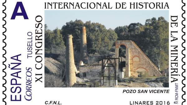 Sello emitido por el XI Congreso Internacional de Historia de la Minería.