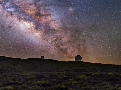 Panorámica nocturna desde el Roque de los Muchachos