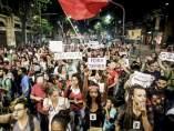"""Marcha del """"Fora Temer"""" en Río de Janeiro el día del juicio político a Rousseff"""