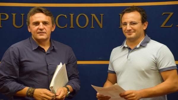 Jesús Pinar y Rúben Ramos, este martes en Zaragoza.