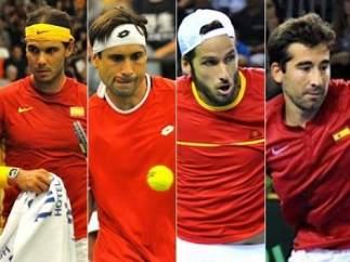 Nadal, Ferrer, Feliciano López y Marc López en el equipo Davis