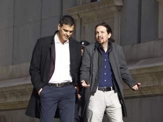 Reunión de Pedro Sánchez y Pablo Iglesias en el Congreso