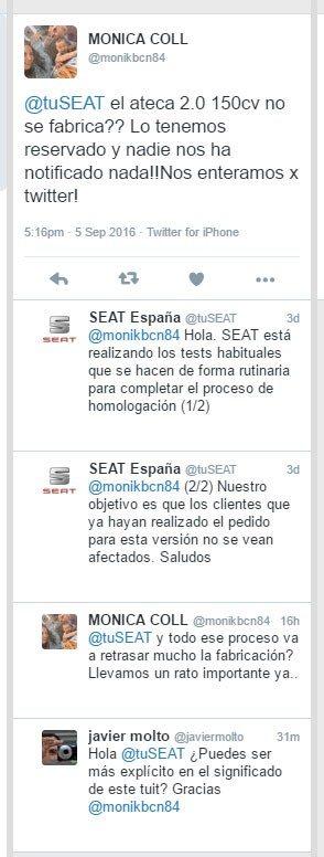 Conversación sobre la venta del Seat Ateca TDI de 150 CV
