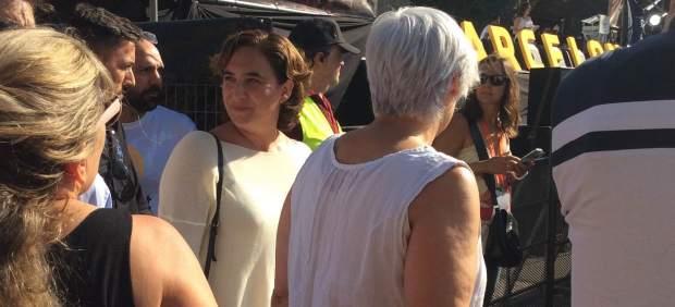 La alcaldesa de Barcelona, Ada Colau, en la concentración de la Diada en Barcelona.