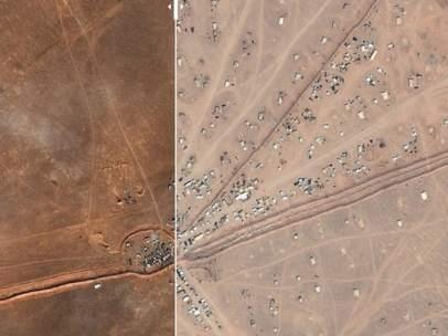 Asentamientos de refugiados entre Jordania y Siria