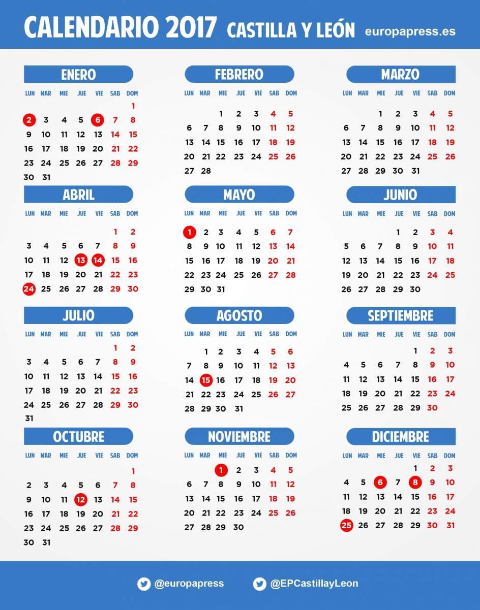 El calendario laboral de 2017 incluye el 2 de enero y el for Calendario laboral leganes 2017