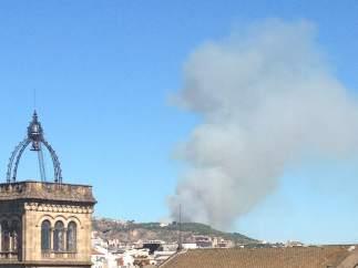 Una columna de humo es visible desde zonas altas de Barcelona debido a un incendio que se ha declarado en Roquetes, en Collserola.