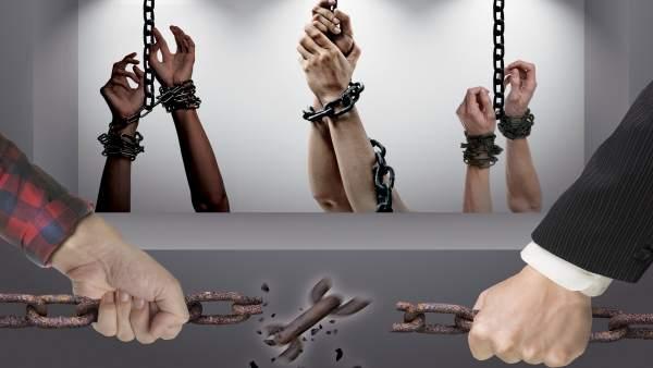Cartel campaña contra la trata de mujeres y niñas ayuntamiento de málaga