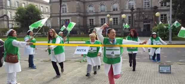 Flashmob de Satse ante la Xunta en Santiago.