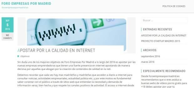 Portal web del Foro empresas por Madrid