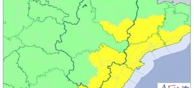 Alerta amarilla por lluvias en Aragón