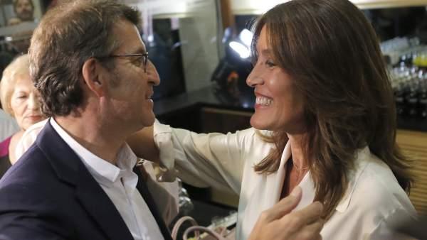 Feijóo, junto a su pareja, Eva Cárdenas