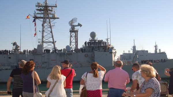 LLegada de la fragata Reina Sofia a la base de Rota