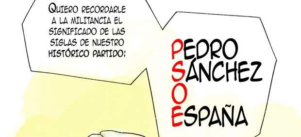 Viñeta El Ventilador. Guerra en el PSOE