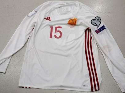 Camiseta de Sergio Ramos de la selección española con las mangas largas