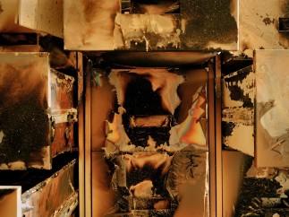 Burnt filing cabinets, Iraqi National Archives, Baghdad, April, 2003